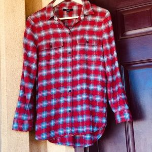 MADEWELL Plaid Flannel Button Up Size M